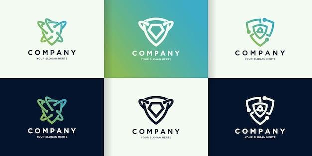 Tecnologia scudo con concetto di logo a linea circolare