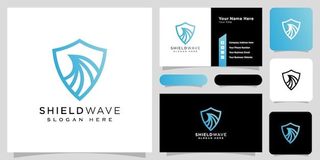 Scudo onda logo design stile linea vettoriale e biglietto da visita