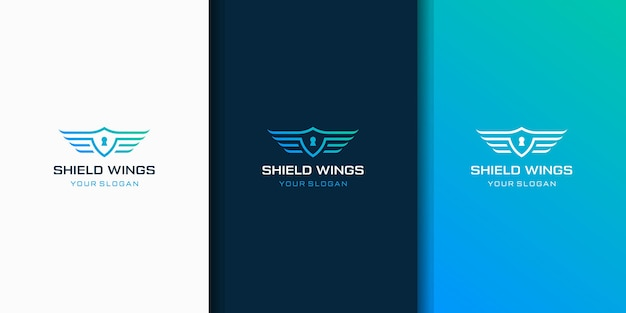 Design del logo scudo e ala