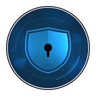 Scudo con il buco della serratura sulla tecnologia di sicurezza del simbolo del cerchio.