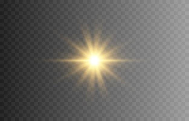 Splendere. un lampo di luce dorato. le luci di un sole. stella d'oro, risplendi. sole, alba. luce png.