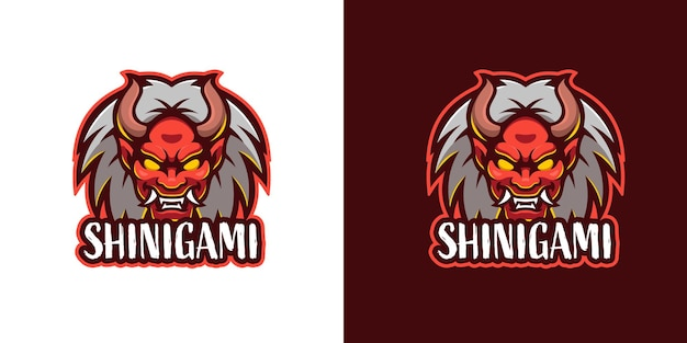 Modello di logo del personaggio della mascotte del demone mostro shinigami