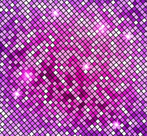 Sfondo di mosaico rosa astratto brillante. mosaico lucido in stile palla da discoteca. luci d'argento discoteca sfondo. sfondo astratto