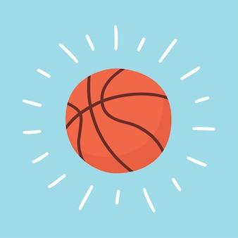 Palla da basket splendente. carta sportiva. illustrazione disegnata a mano in cartone animato