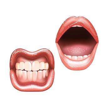 Brillanti belle labbra nude femminili con i denti