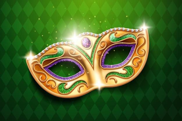 Brillanti diamanti sulla maschera di carnevale