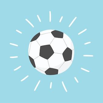 Sfera di calcio splendente. illustrazione disegnata a mano in cartone animato e stile piatto