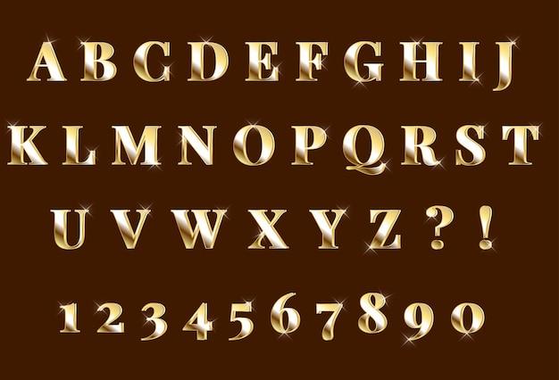Set di numeri di alfabeto 3d oro splendente