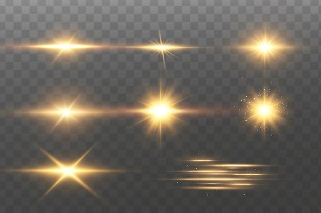 Brillanti stelle dorate. effetti, abbagliamento, linee, glitter, esplosione, luce dorata.