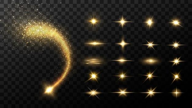 Stelle dorate brillanti isolate su priorità bassa nera. effetti, riflesso lente, lucentezza, esplosione, luce dorata, set. stelle splendenti, splendidi raggi dorati.