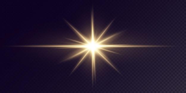 Stelle dorate brillanti isolate su fondo nero estratto festivo del laser della stella della luce fissata