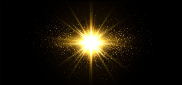 Stelle dorate brillanti isolate su priorità bassa nera