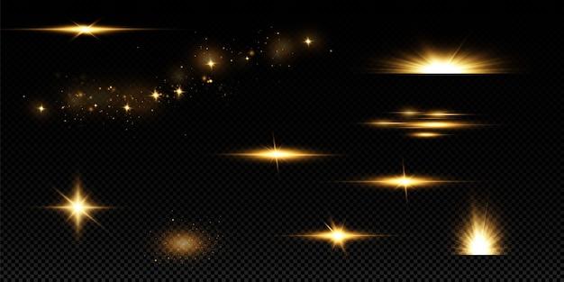 Stelle dorate brillanti isolate. effetti, abbagliamento, linee, glitter, esplosione, luce dorata.