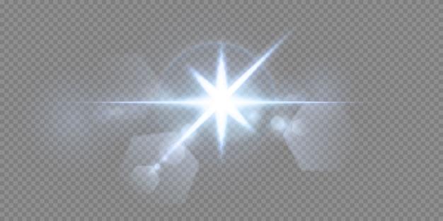 Brillanti stelle al neon isolati su sfondo nero. effetti, riflesso lente, lucentezza, esplosione, luce al neon, set. stelle splendenti, bellissimi raggi blu.