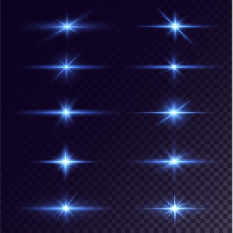 Brillanti stelle al neon isolate su sfondo nero effetti riflesso lente brillare esplosione luce al neon