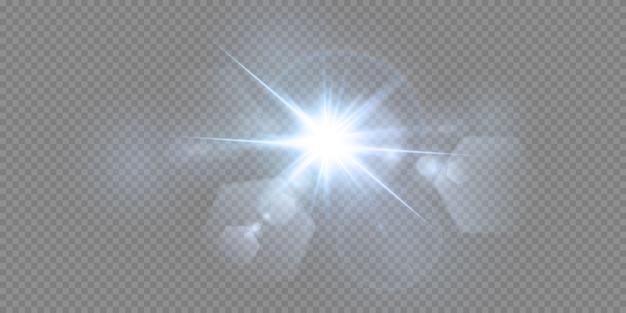 Stelle al neon brillanti isolate su fondo bianco. effetti, riflesso lente, lucentezza, esplosione, luce al neon, set. stelle brillanti, splendidi raggi blu. .