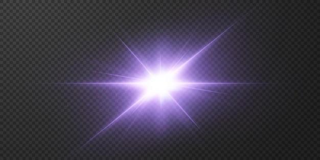 Brillanti stelle al neon su sfondo trasparente