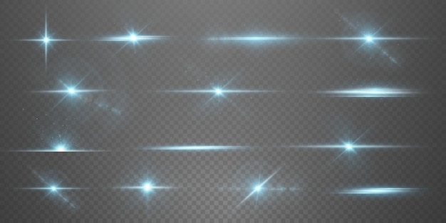 Stelle luminose al neon su sfondo trasparente