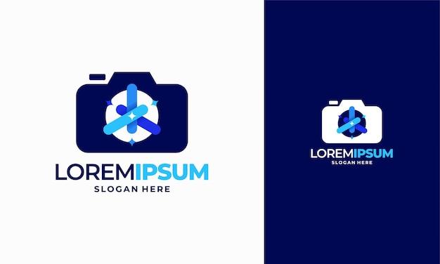 Il logo di fotografia brillante progetta il vettore di concetto, il simbolo dell'icona del modello di logo della fotocamera scintillante