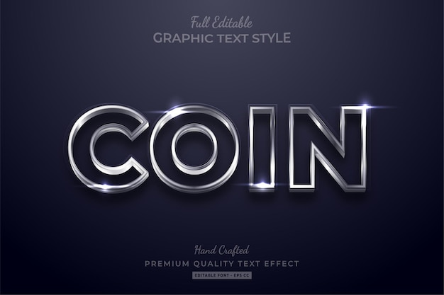 Stile del carattere di effetto testo modificabile moneta d'argento splendente