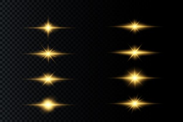 Stella splendente, particelle di sole e scintille con un effetto di evidenziazione, luci bokeh colorate brillano e paillettes