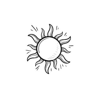 Icona di doodle di contorni disegnati a mano sole splendente. tempo estivo e luce solare, calore e concetto di sole