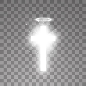 Brillante croce santa bianca e anello angelo aureola bianca