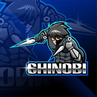 Shinobi esport design del logo mascotte