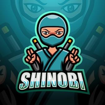 Illustrazione di esport della mascotte shinobi