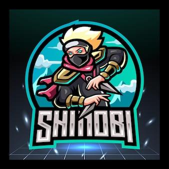 Disegno del logo esport della mascotte shinobi