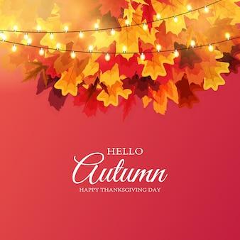 Fondo brillante dell'insegna delle foglie di autunno.