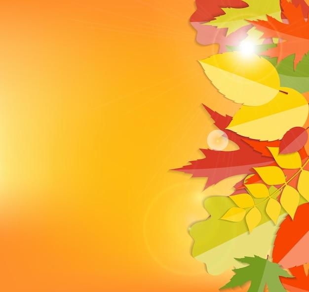 Sfondo di foglie naturali autunnali lucidi. illustrazione vettoriale eps10