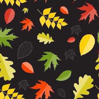 Fondo senza cuciture del modello delle foglie naturali di autunno lucido. illustrazione di vettore. eps10