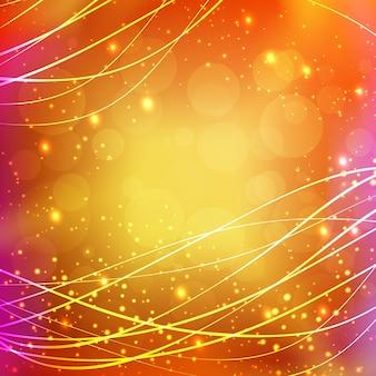 Sfondo lucido con linee ondulate ondulate incandescente luce ed effetti illuminati illustrazione vettoriale