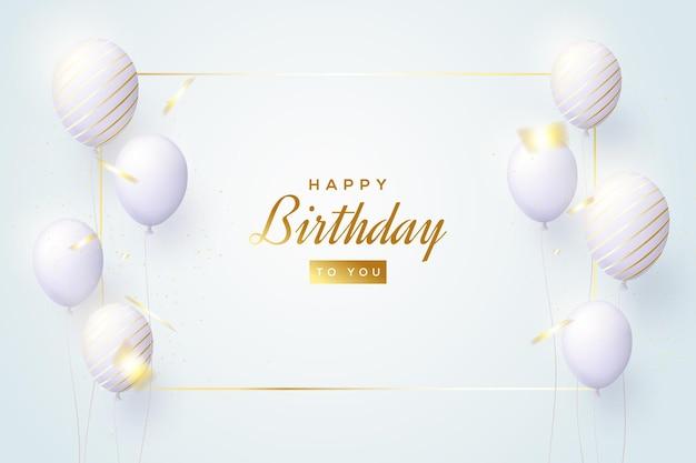 Sfondo di compleanno lucido con palloncini realistici