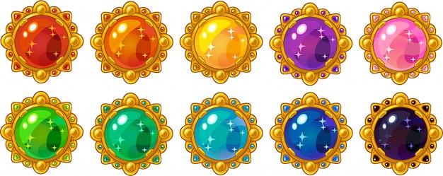 Gemma rotonda colorata lucida con cornice dorata impostata per l'interfaccia di gioco mobile