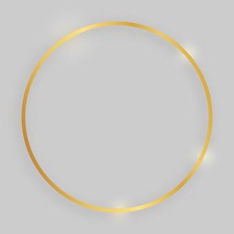 Cornice lucida con effetti luminosi. cornice rotonda oro con ombra su sfondo grigio. illustrazione vettoriale