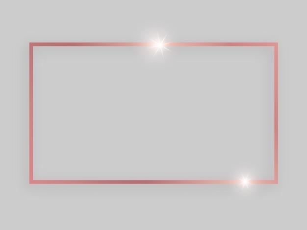 Cornice lucida con effetti luminosi. cornice rettangolare in oro rosa con ombra su sfondo grigio. illustrazione vettoriale
