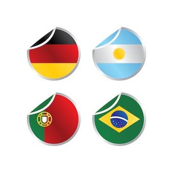 Illustrazione di arte vettoriale di bandiera nazionale lucido tema lucido