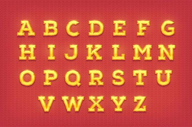 Lettere d'oro lucido. carattere tipografico d'oro.
