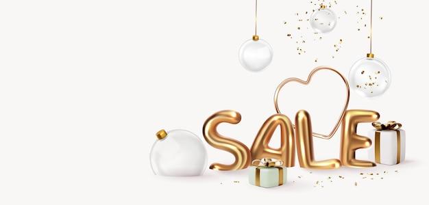 Lettera di vendita in oro lucido con illustrazione 3d di nastro d'oro volante