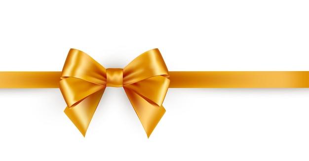 Fiocco in raso oro lucido con nastro horisontal isolato su sfondo bianco