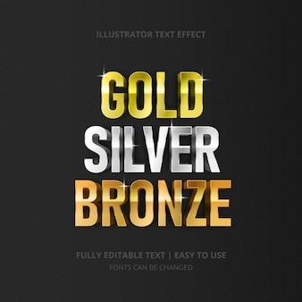 Effetto di testo in bronzo dorato argento lucido modificabile