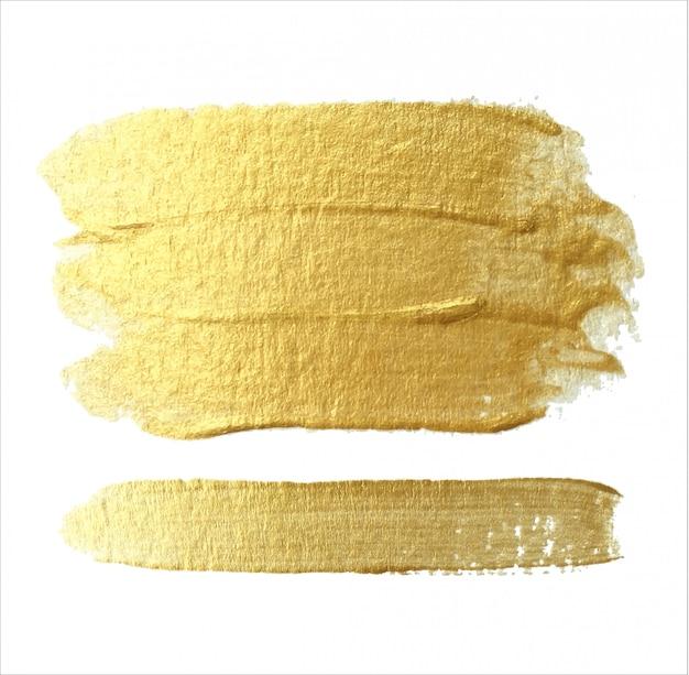 Estratto di tratti di pennello dorato lucido. set di pennellate per volantino di progettazione di poster di banner.