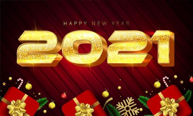 Lettere di felice anno nuovo in stile 2021 di colore dorato lucido, scatole regalo, fiocchi di neve d'oro, palline, stelle e foglie di pino