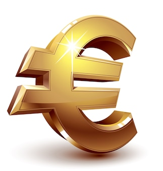 Segno dell'euro dorato lucido. organizzato da strati. colori globali. gradienti utilizzati.