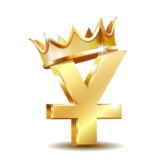 Simbolo di valuta yuan dorato lucido con corona d'oro. concetto di investimento, marketing o risparmio. potere, lusso e ricchezza. illustrazione vettoriale isolato su sfondo bianco