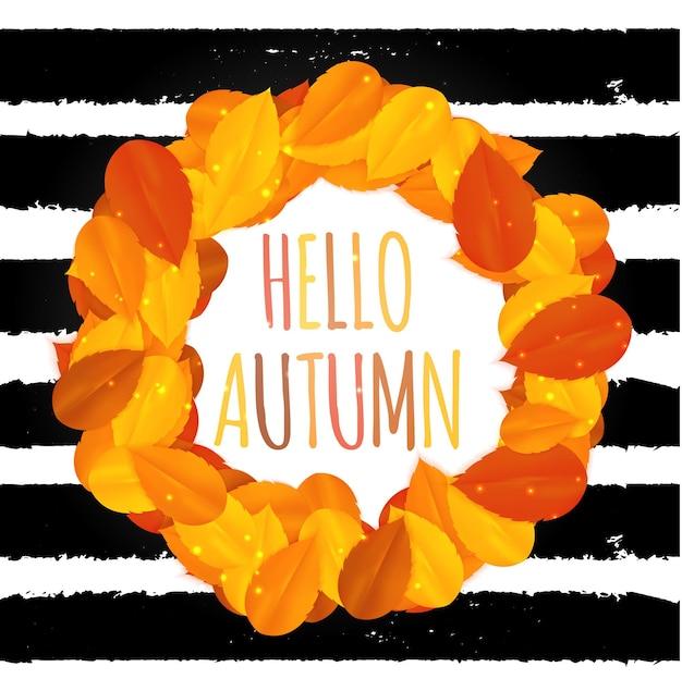 Shiny ciao autunno foglie naturali sfondo. illustrazione vettoriale eps10