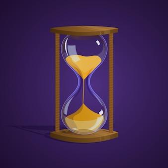 Clessidra lucida. tempo. icona del gioco illustrazione vettoriale