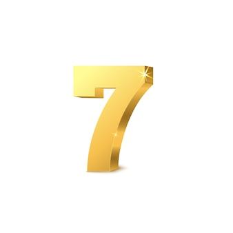 Illustrazione realistica di vettore del mockup di numero sette dorato metallico lucido isolato